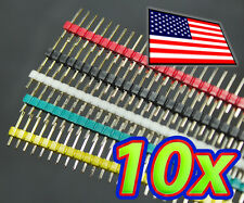 [10pcs] 40 Pin Male Header - Red Green White Yellow Black for Breadboard 1x40