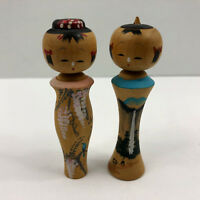 Vintage Wooden Japanese Kokeski Painted Doll Wood Japan Set 2 Waterfall Flowers