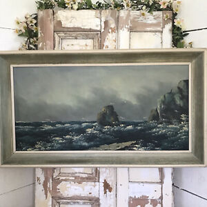 LARGE Stunning MOODY SEASCAPE Oil Painting MID CENTURY Picture Framed Signed