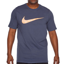 Mens Nike DRI-FIT Swoosh Tee Shirt Big & Tall 839893471 Athletic Cut Dark Blue
