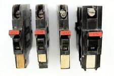 Lot of 4 Federal Pacific Stab-Lok Single 1 Pole Breakers 15 & 20 Amp Vintage Fpe