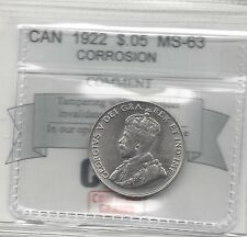 **1922**, Coin Mart Graded Canadian,  5 Cent, **MS-63**Corrosion Spot Rev.
