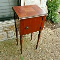 Vintage Tobacco Humidor Stand Smoking Cigar Cabinet Wood Table Copper Lined