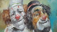 Original Vintage Clowns Oil Painting by Artist W. Moninet Signed