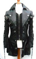 Mans Mens 100% REAL LEATHER Black Steampunk Jacket Coat  GOTH PUNK EMO ROCK