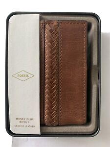 Fossil Francis Leather Money Clip Bifold Cognac  NIB