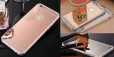 Dorado/Rosa Espejo Diamante Cristal Brillante Funda de Gel Blanda Funda Trasera
