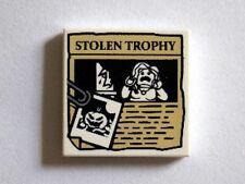 LEGO - Tile 2 x 2 Paper Clip, Jack O' Lantern Image & STOLEN TROPHY Newspaper