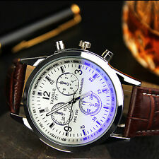 Luxury Men's Sport Watch Stainless steel Cuero Military Analog Quartz Relojes