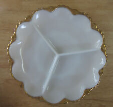 Vintage White Milk Glass Divided Serving Plate Tray Dish Gold Trim Round 10""