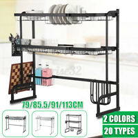 2 Tier Dish Drainer Rack Stainless Steel Draining Storage Over Sink Drying Bowl