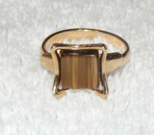 Vintage Gold Tone Sarah Coventry Brown Mother of Pearl Adjustable Ring D6