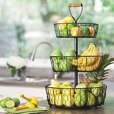 3-Tier Basket Organizer CounterTop Fruit Holder Bath Dorm Kitchen Decor
