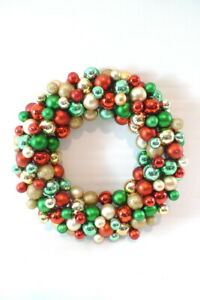 """COLORFUL CHRISTMAS WREATH 12"""" Door Plastic Ornament Holiday Home Decor"""