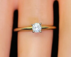 Beautiful Women's 14K Gold 1/5 Ct Sol. Diamond Wedding/Engagement Ring Size 5.75