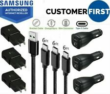 OEM Samsung Galaxy S10 S8 S9 Plus Fast Car Wall Charger 6 FT USB-C Type-C Cable