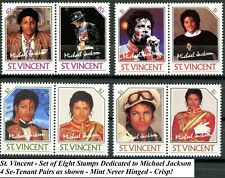 St Vincent Complete Set of 8 Se-Tenant Stamps of Michael Jackson from 1987 MNH