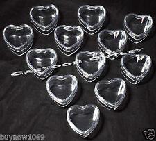 12 X HEART FAVORS FILLABLE PLASTIC RECUERDOS PARTY FAVORS BAUTIZO WEDDING 15 ANO