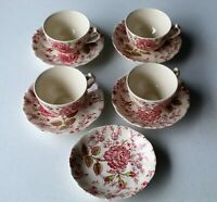 Johnson Bros Rose Chintz Set of Four Cups & Five Saucers