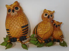 Vintage 1976 Homco Wall Plaque Hanging Home Decor Owls Set of 2 Plastic