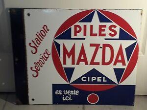 Plaque émaillée piles Mazda double face - Vitracier Neuhaus_années 50_50x41 cm