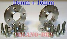 4 DISTANZIALI RUOTA 16+16mm CITROEN DS3 Bullone CONICO+KIT ANTIFURTO