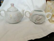 Precious Moments - Two Girls Having Tea Sugar Bowl and Creamer box included