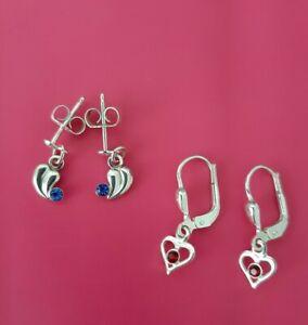 Süsses 2er Set Ohrringe, 925er Silber, roter und blauer Stein, selten getragen