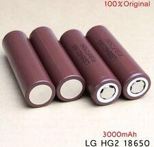 4 LG HG2 (Brown) 18650 HIGH DRAIN INR 3000mAh 20A Rechargeable Li-Ion Battery
