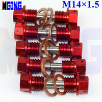 10Ps M14X1.5 Engine Magnetic Oil Pan Drain Plug Bolt Kit Crush Washer Nut  Red