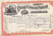 Chicago St Louis & Pittsburgh Railroad Comp 1883 Common Shares Stock Certificate