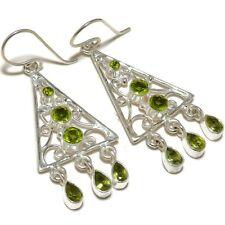 Faceted Peridot Pear Round Gemstone silver plated Handmade Designer Earrings