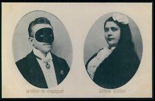 Circus freak Masked man mask fetish & woman original old 1910s postcard