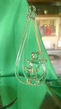 Blown Glass Figurine - Clear Hanging Bear Ornament with Gold Trim