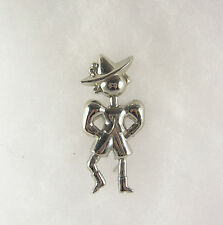 Vintage  Swiss Dutch Boy Pin Brooch Silver Tone Hat Lapel Retro Jewelry