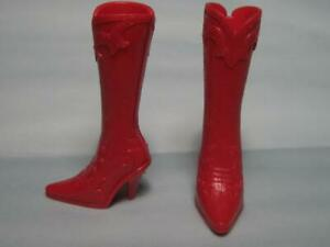 WESTERN Clothes BARBIE DOLL-MODERN COWBOY BOOTS Heel shoes-RED W/BACK SLIT EASY
