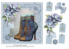 Steampunk Boots With Porcelain Roses Decoupage 1 x A4 Sheet