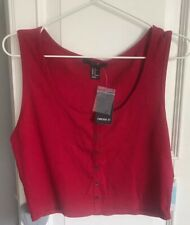 NEW Forever 21 Red Button Through Crop Vest Top BNWT XL
