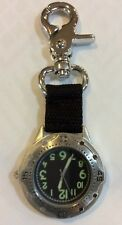 Silver Clasp Pocket Watch Round Black Dial Green Hour Numbers New Perfect Gift!