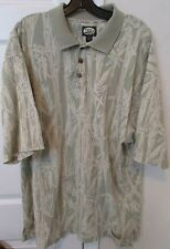 Tommy Bahama 100% Cotton Mens Short Sleeve Polo Shirt XL Bamboo Print EUC