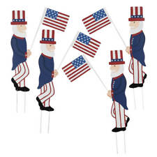 Uncle Sam and Flag Patriotic Metal Garden Stakes Set of 4 Outdoor Yard Art