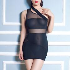 Women Sexy One Shoulder See Through Stretch Bodycon Sheer Mini Clubwear Dress