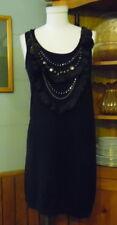 Nanette Lepore Merino Wool Dress Small Black Ruffles/Beads/Chains Bodice Slvlss