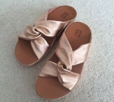 Ladies Fitflop Twiss Slide Rose Gold Leather Sandals UK5 New In Box