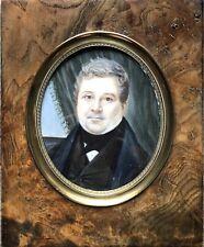 PISSARELLO Augustin Miniature Portrait d'Homme Bourgeois Peinture Italie XIXème