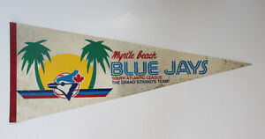 Vintage 1980s Myrtle Beach Blue Jays Collectible Sports Rare Full Size Pennant