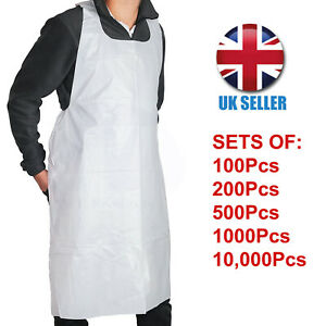 100/200/500/1000/10,000 White Disposable Polythene Plastic Aprons Flat Pack
