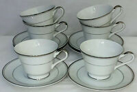 6 Imperial China *DALTON SINCERITY*WHITE & PLATINUM* FOOTED CUPS & SAUCERS