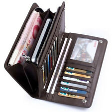 Men's Bifold Leather Coin Multi Card Holder Purse Long Wallet Clutch Billfold