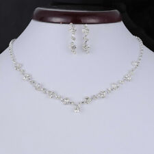 Women Bridal Bride Wedding Jewelry Set Rhinestone Stud Earrings Pendant Necklace